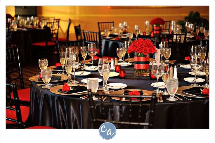 Red Black Table Settings Wedding Accessories