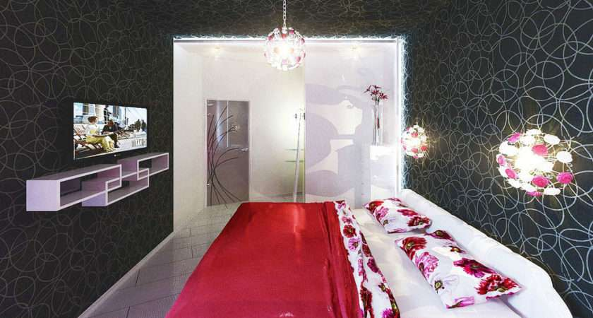 Red Black White Awesome Bedroom Accessories