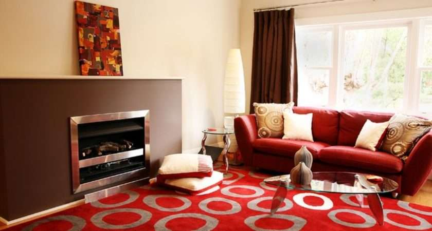 Red Brown Living Room Contemporary