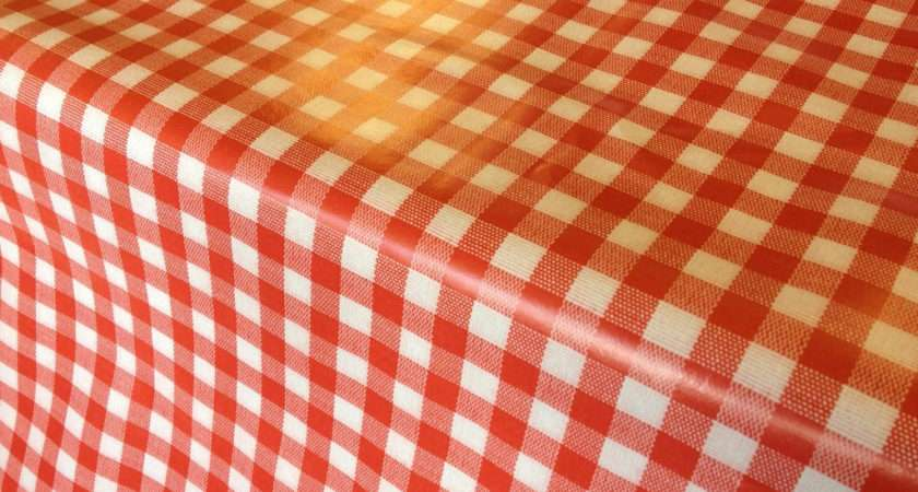 Red Gingham Oilcloth Pvc Tablecloth Fabric