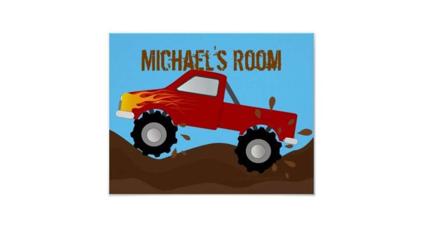 Red Monster Truck Personalised Poster Zazzle