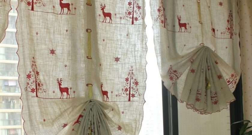 Red Rudolph Christmas Style Balloon Curtain Linen Pull