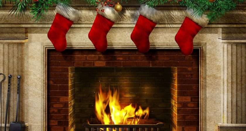Red Stockings Above Fireplace Holiday