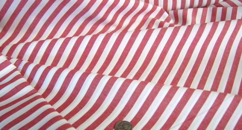 Red White Candy Stripe Fine Cotton Fabric New Wide Bthy