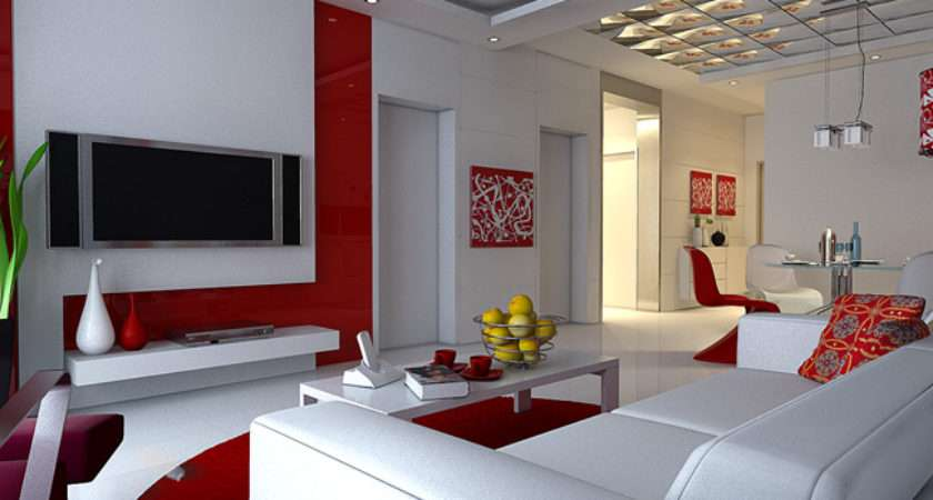 Red White Living Rooms Room Modern