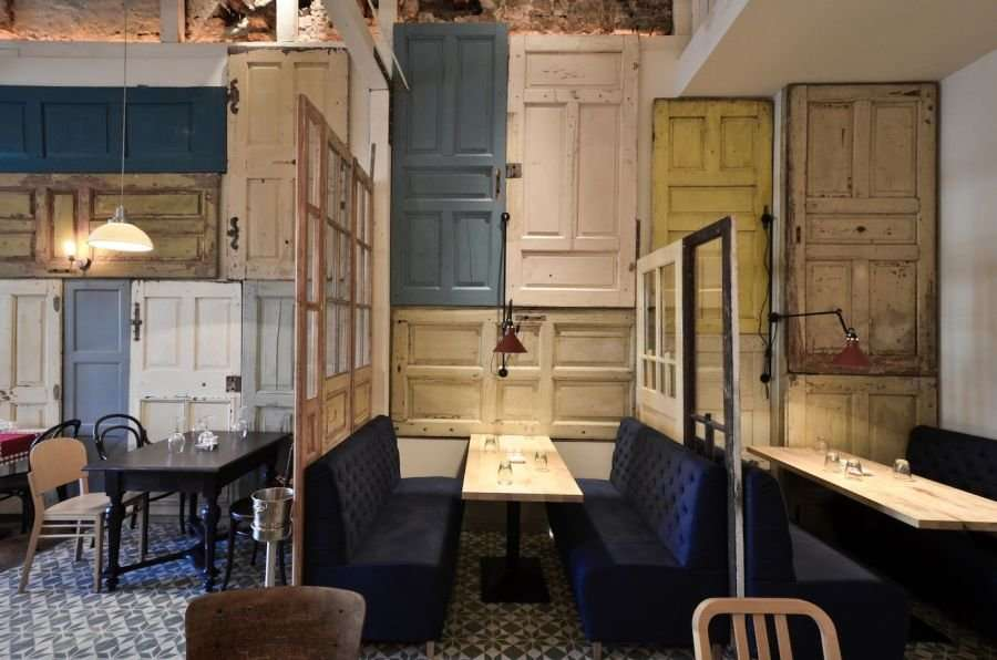 Restaurant Interior Made Out Salvaged Doors Windows
