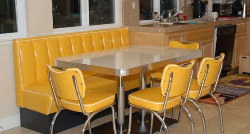 Retro Kitchen Booth Yellow Cracked Ice Chairs Table