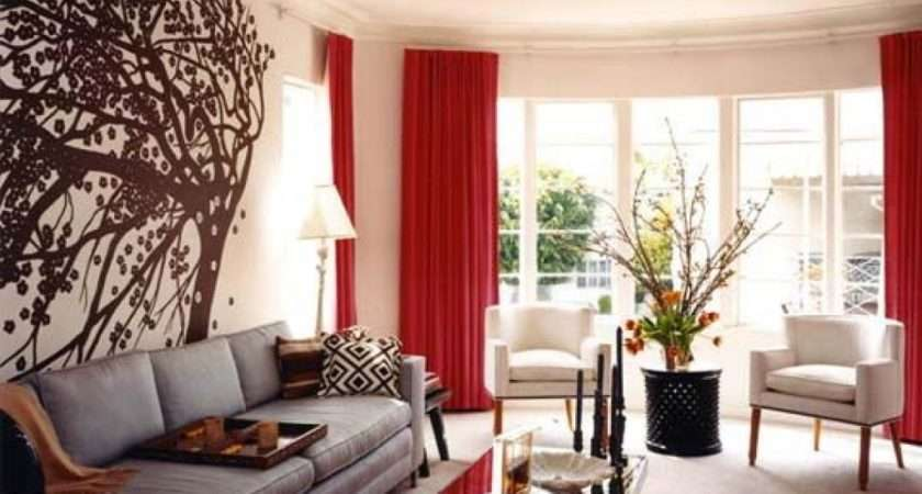 Rich Red White Living Room Decor Ideas Curtains