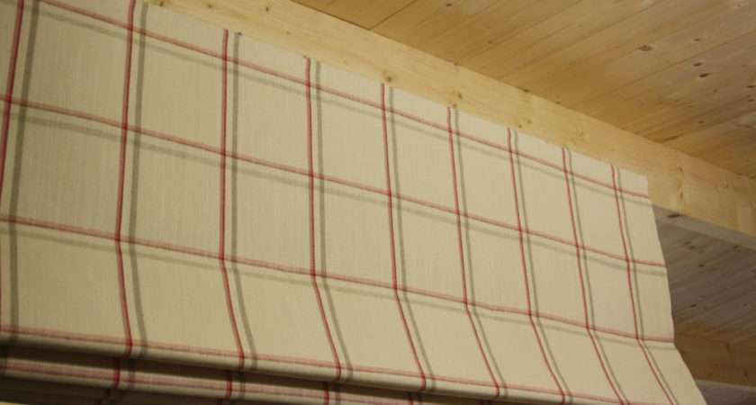 Roman Blind Laura Ashley Corby Check Cranberry Fabric Made