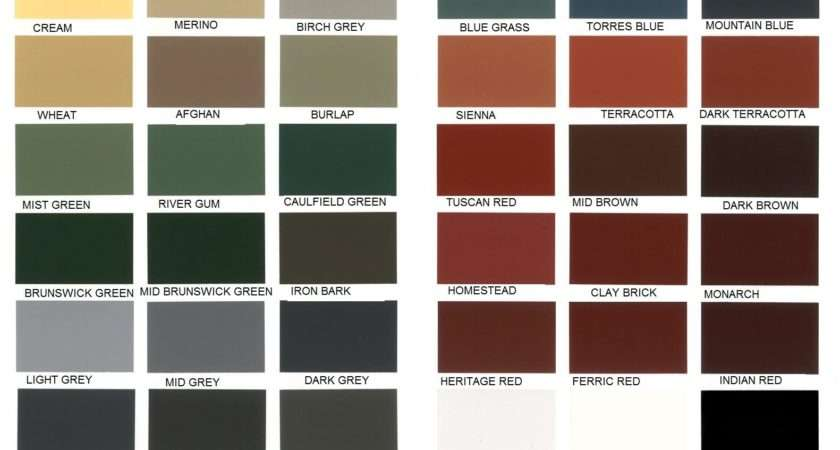Roof One Corporation Roofing Colour Chart