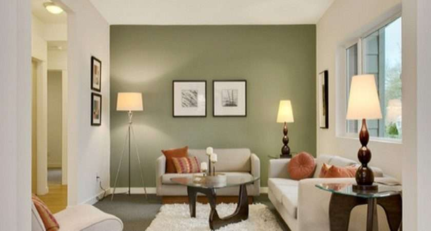 Room Green Colored Accent Wall Painting Colors Ideas