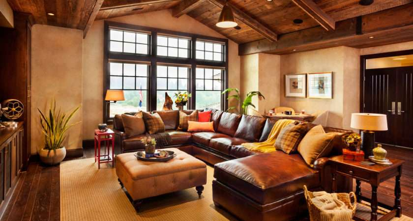 Room Rustic Design Ideas Brown Leather Sofa Sectional