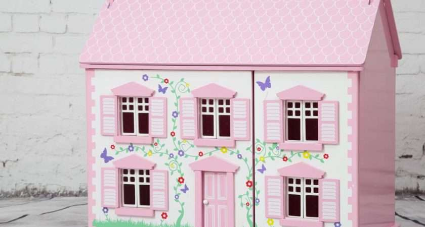 Rose Cottage Wooden Dolls House Pink Children Starter
