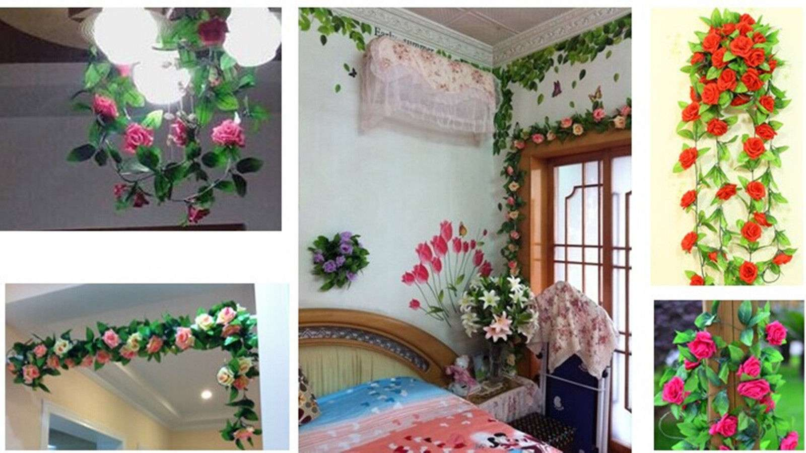 Rose Flower Ivy Vine Hanging Garland Wedding Party Home Decor Ebay