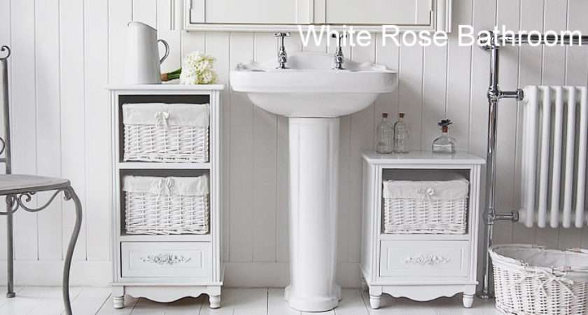 Rose Standing Small Bathroom Cabinet White Cottage