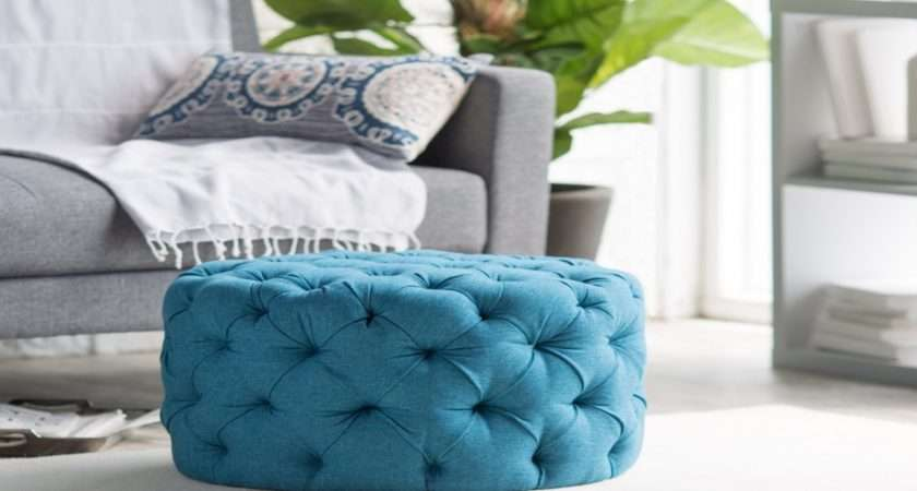 Round Upholstered Ottomans Tufted Footstool