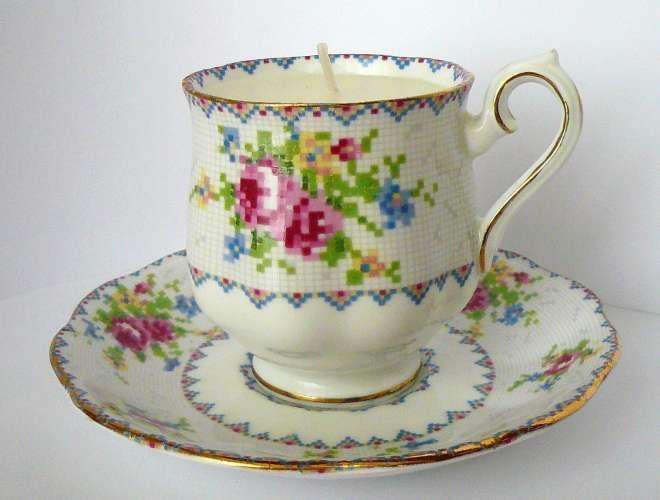 Royal Albert Petite Point Tea Cup Candle Have Salad Plates