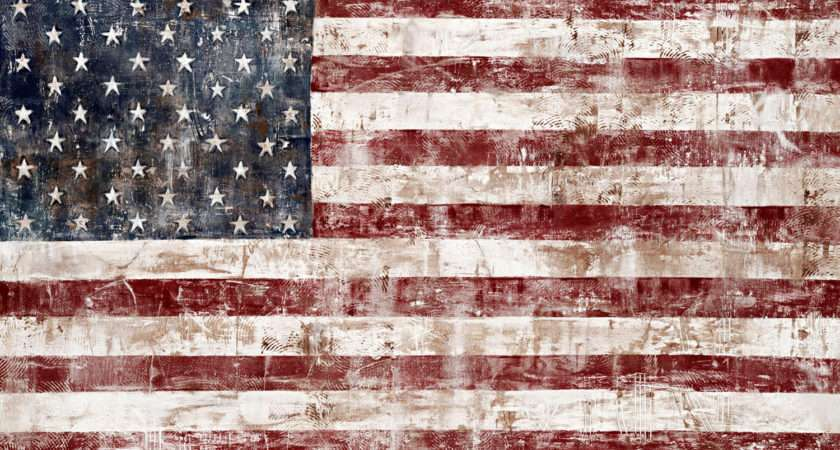 Rustic American Flag Painting Navy Deep Red Tifsheppardfineart