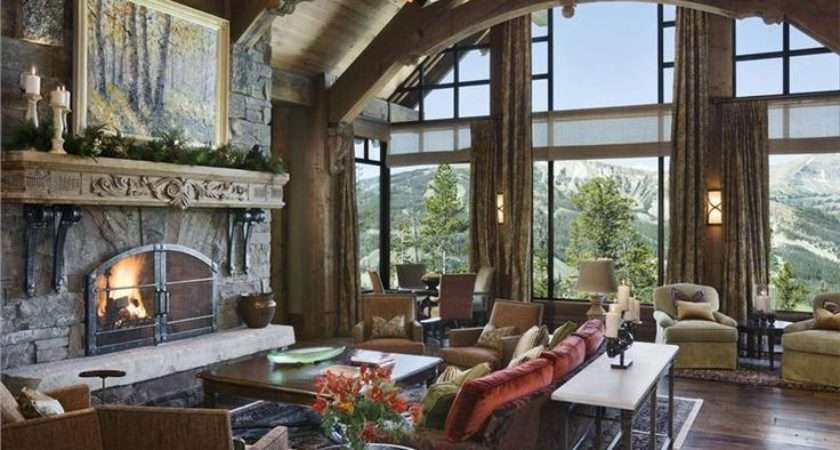 Rustic Great Room Trusses Large Stone Fireplace Wall