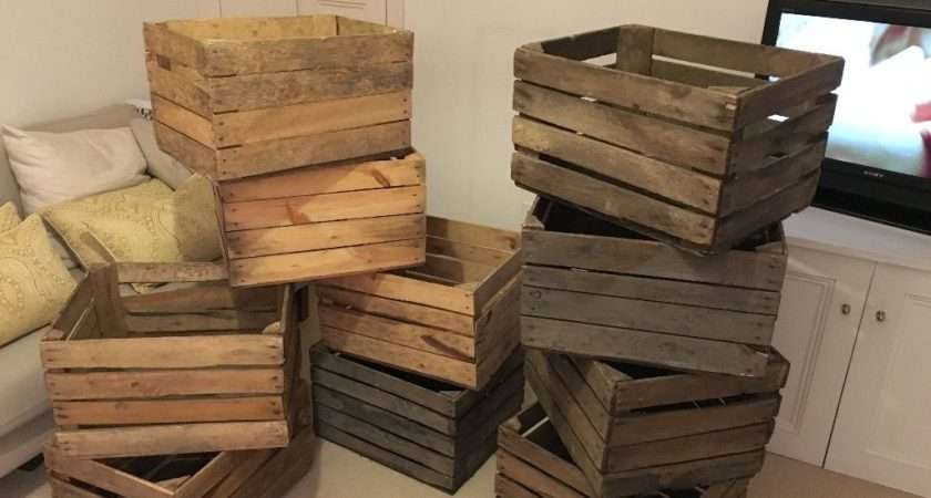 Rustic Vintage Wooden Crates Listing Crate