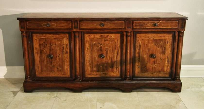 Rustic Walnut Sideboard Side Cabinet Credenza Marquestry