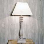 Rustic Wooden Painted Lamp Base Script Print Linen Shade