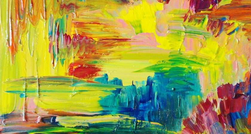 Sale Abstract Acrylic Painting Bright Bold Color