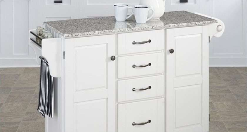 Salt Pepper Granite Top Kitchen Cart White