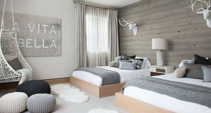 Scandinavian Bedroom Wooden Accent Wall Pops Gray Design