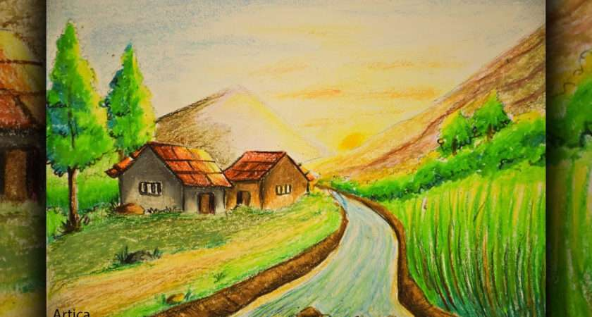 Scenery Drawing Pastel Colors Great
