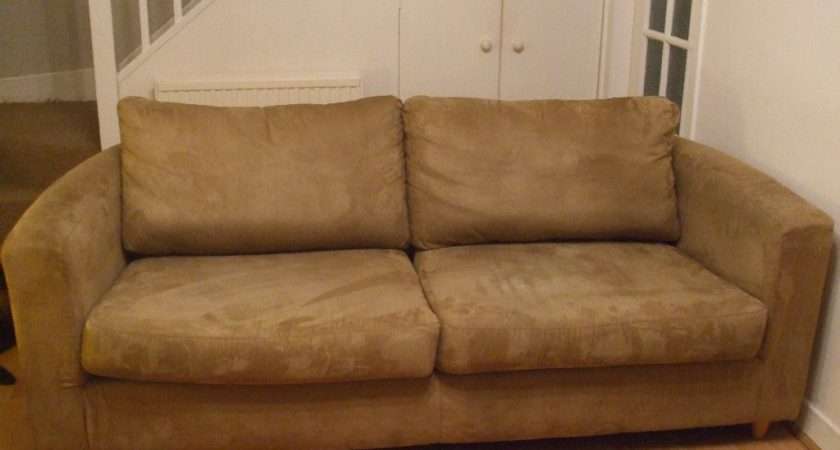 Seater Brown Faux Suede Sofas Beech Wood