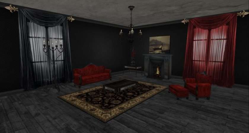 Second Life Marketplace Victorian Goth Living Room Complete
