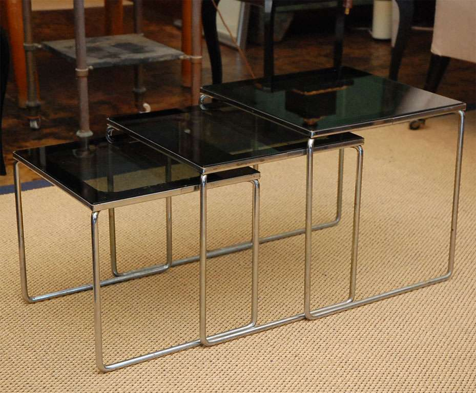 Set Smoked Glass Chrome Nesting Tables Sale Stdibs