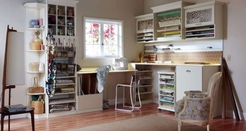 Sewing Room Shaped Cabinetry Craft Storage Roo