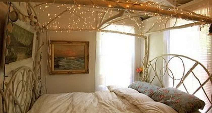 Shabby Chic Bedroom Has Cool Lighting Above Bed