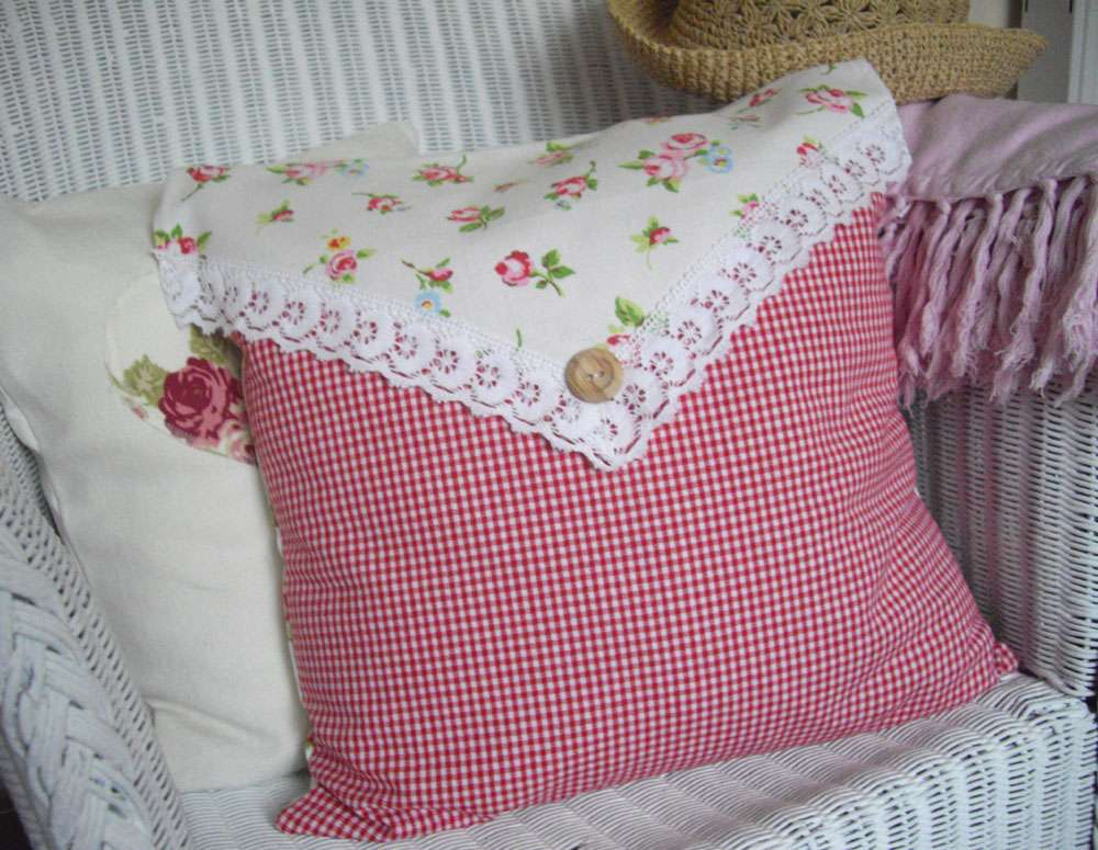 Shabby Chic Cushion Chintz Gingham Cotton Fabric London House