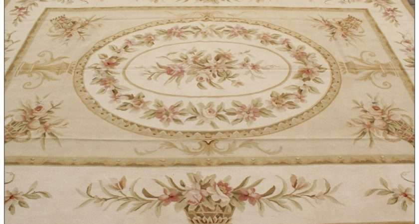 Shabby Chic French Style Aubusson Area Rug Carpet Yellow Ivory
