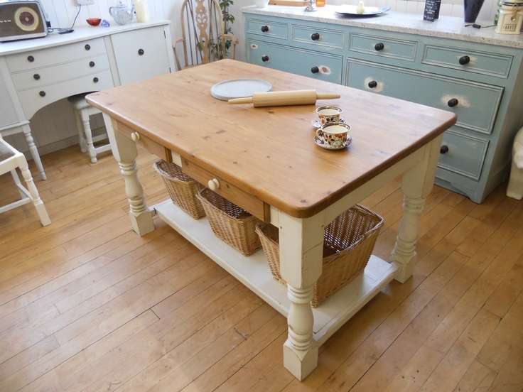 Shabby Chic Painted Farmhouse Country Kitchen Island Table Dra