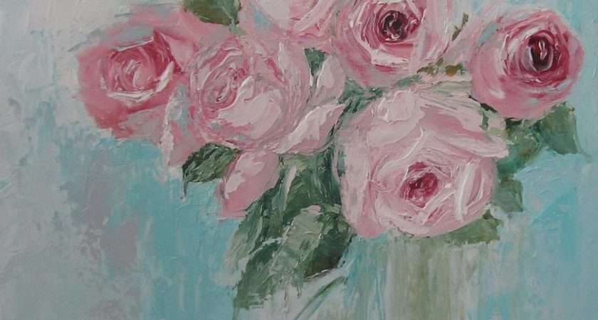 Shabby Chic Pink Roses Oil Palette Knife Painting