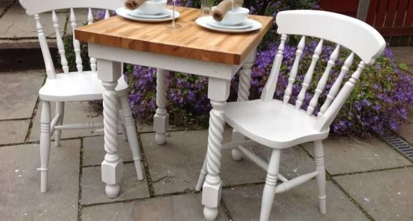 Shabby Chic Solid Oak Dining Table White Chairs