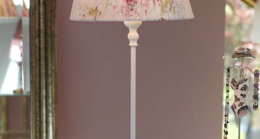 Shabby Chic Table Lamp Pink Floral Shade Country Style Lighting