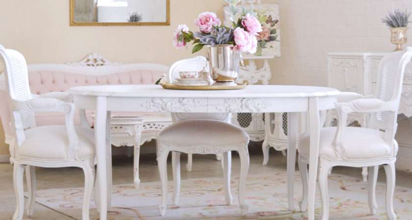 Shabby Cottage Chic Oval Dining Table French Style Vintage