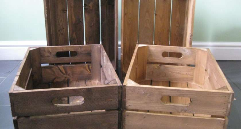 Shallow Two Panel Wooden Crates Great