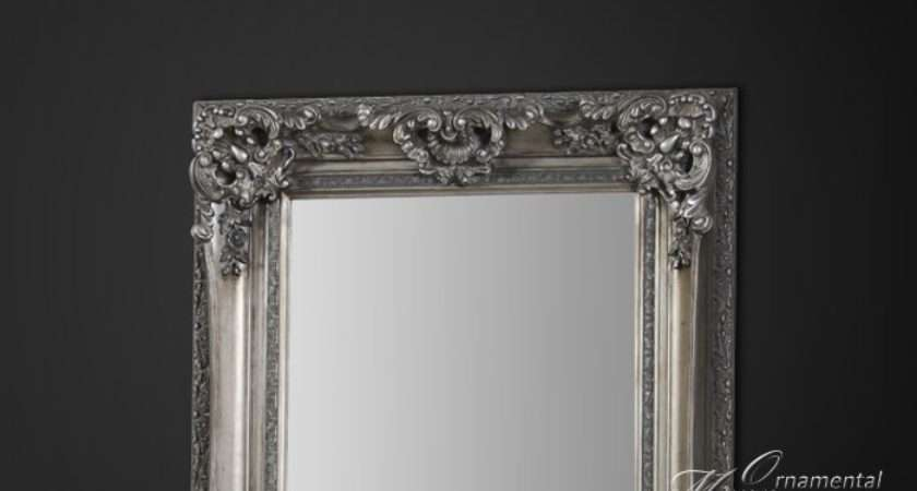 Silver Framed Length Mirror Detail