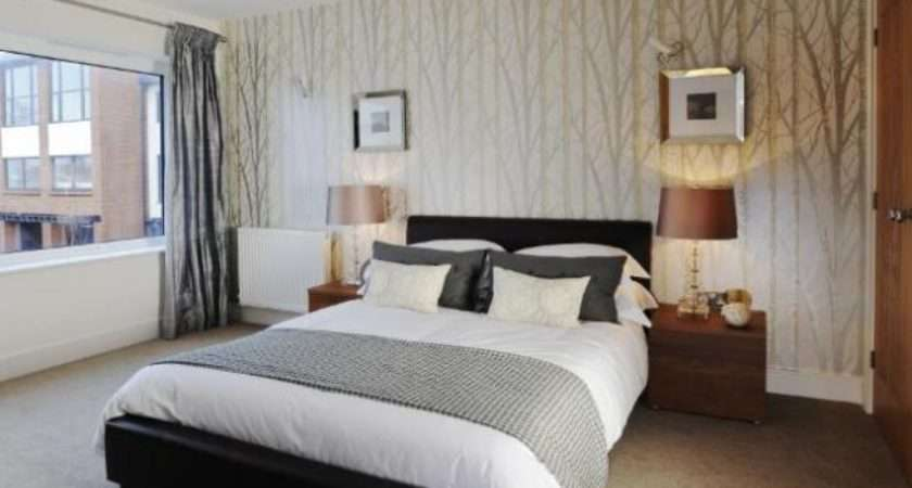 Silver White Bedroom Big Windows Feature Wall Lamps