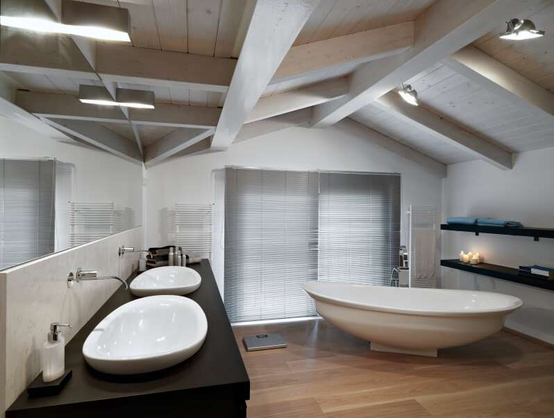 Sleek Minimalist Attic Bathroom Open Shelving Boat Like