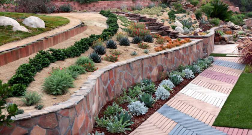 Slope Lanscape Garden Ideas Mediterranean