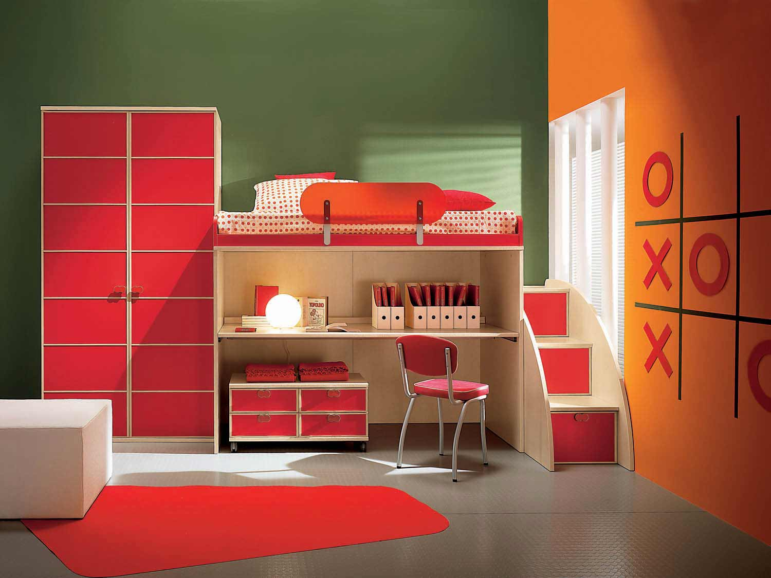 Small Childrens Bedrooms Design Red Accent