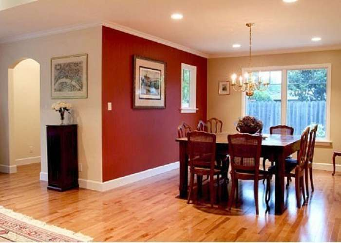 Small Dining Room Merlot Red Accent Wall Painting Color Ideas