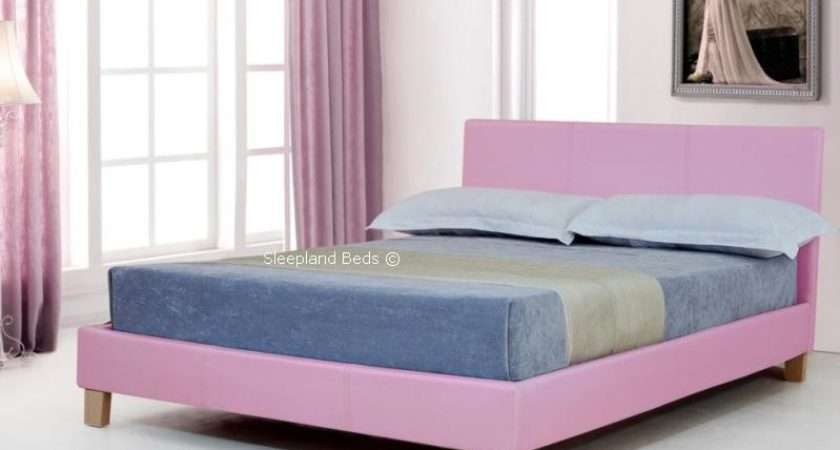 Small Double Pink Faux Leather Bed Byron Sleepland Beds